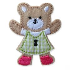 GREEN GINGHAM TEDDY MOTIF IRON ON EMBROIDERED PATCH APPLIQUE
